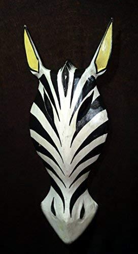 Madera Mascara zebra Áfricana, pintada blanco y negro, 30 cm por 11 cm ancho, pared