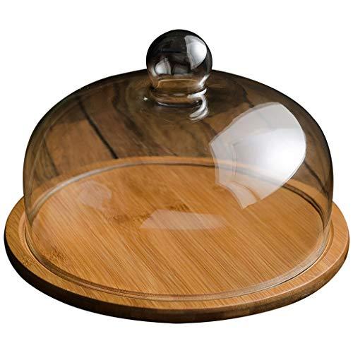 Plato de mantequilla Bandeja de mantequilla hogar, la bandeja de madera y cubierta de cristal a prueba de polvo, mantequilla caja de Mueble de cocina Frigorífico de almacenamiento platos de mantequill