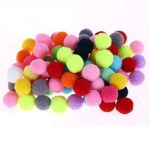 Egurs 100 Stück Pompons Bunte Plüsch Ball Pom Pom Bälle DIY Kreative Handwerk Kindergarten Kinder Handarbeit Material 3cm