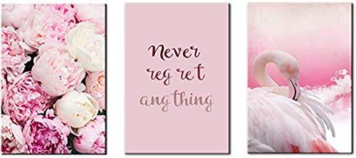 Juego de 3 cuadros de lienzo de flamenco rosa, decoración de animales, para salón, dormitorio, guardería, decoración de pared sin borde (30 x 40 cm x 3 cm)