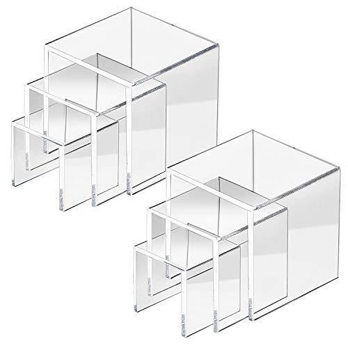 HBselect 6 Stück Acryl Display Riser, Schmuck Display Riserin 3 Verschiedene Größe 7,5-10,5 x 2,5-6,5 x 7 cm