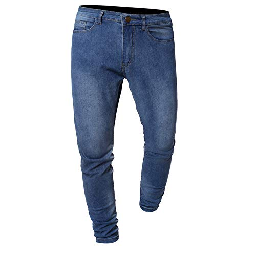 Jubaton Vaqueros de Mezclilla básicos clásicos de Corte Regular para Hombre, Jeans de Corte Slim básicos, Elegantes Pantalones Lavados con Estampado de Rayas Laterales M