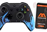 Soft Touch Blue Fire Face Rapid Fire Custom Modded Controller 40 Mods for All Major Shooter Games compatible with Xbox One S/X