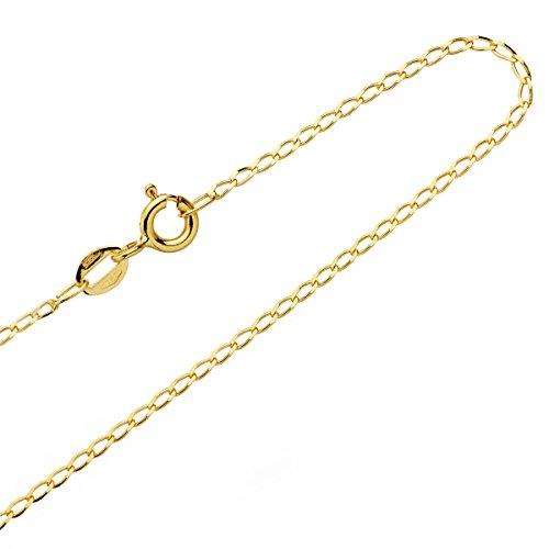 Collana Catena Bilbao oro giallo 18ktes massiccio 50cm Maglie 1,4mm larghezza uomo donna chiusura forzatina