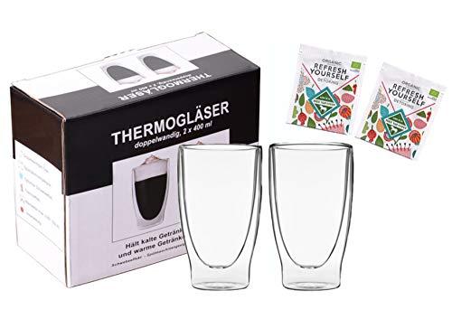 """Teeset: 2x 400ml lang + 2x BIO-Tee """"Refresh Yourself"""" - doppelwandige Gläser / Thermogläser mit Schwebe-Effekt / 2x BIO Teebeutel grüner Tee, Minze, Ingwer … / DUOS-SET by Feelino"""
