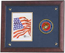 Allied Frame U.S. Marine Corps Picture Frame with Medallion and Stars - 5 x 7 inch