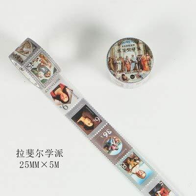 2,5 cm Briefmarkenstil Weltberühmte Gemälde Rafael Bullet Journal Washi Tape Klebeband DIY Scrapbooking Sticker Label Masking