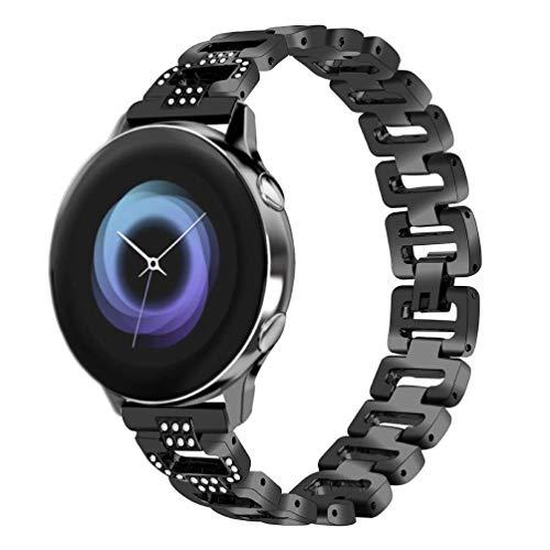 HappyTop - Correas de Metal Ajustables para Reloj Samsung Galaxy Active, con Joyas, Color Negro, Moda
