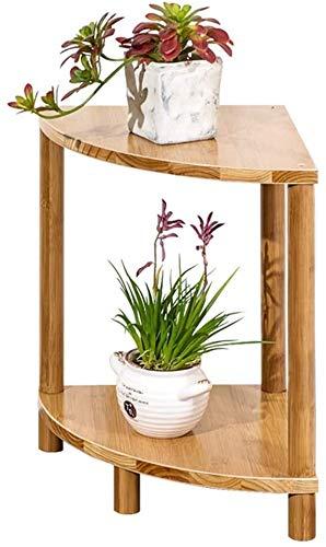 JinSui Plant Stands Holder for Home Flower Holder Fan-Shape Corner Flower Pot Storage Rack Shelf Wooden 2-Tier Plant Rack Side Table Corner Display Shelf Bonsai Display Shelf