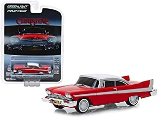 Greenlight 1958 Plymouth Fury Red with White Top Evil Version (Blacked Out Windows) Christine (1983) 1/64 Diecast Model Car 44840B