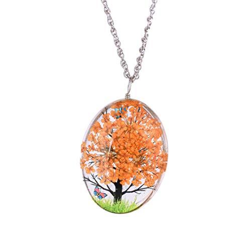 YAZILIND Flor Seca Mariposa espécimen Transparente Vidrio ovaló lockets Colgantes Clavicle Cadena Collar para Mujeres Naranja