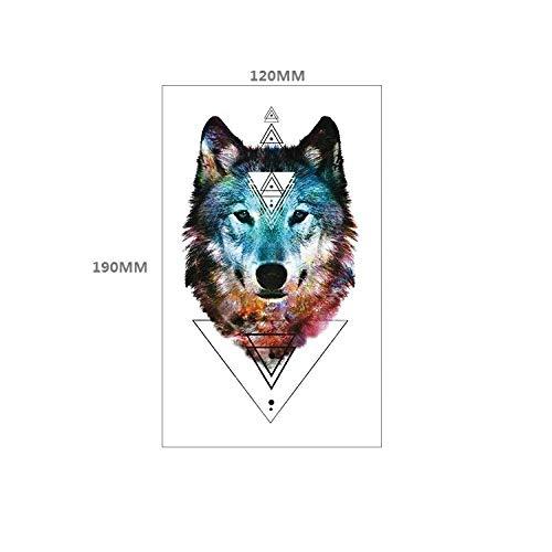 Tier Tattoo Aufkleber Tiger Kopf Wolf Kopf geometrische Form europäischen und amerikanischen Stil Anzug Wassertransfer Blume Arm Aufkleber-TBS-8118_120 * 190 MM