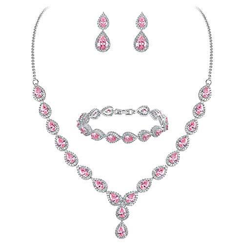 Clearine Mujer Boda Nupical Lágrima Zircón Infinity Figure 8 Y-Collares Pulsera Dangle Pendientes Conjunto Rosa