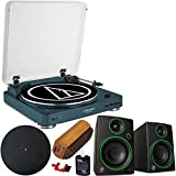 Audio-Technica AT-LP60-BT Fully Automatic Bluetooth Wireless Belt-Drive Turntable LE Navy AT-LP60NV-BT Bundle with Mackie CR3 3' Multimedia Monitors Pair + Deco Gear Platter Mat + Vinyl Cleaning Kit
