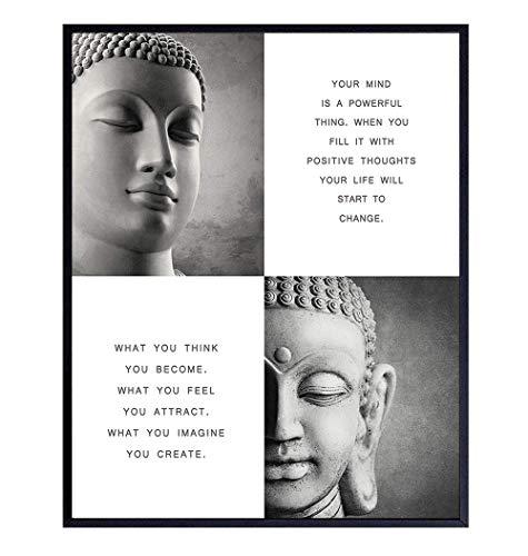 Zen Decor - New Age Buddhism Quotes - Buddha Statue Inspirational Spa Wall Art - Meditation Gift for Women, Yoga Instructor - 8x10 Motivational Spiritual Buddha Room Decoration Poster Print