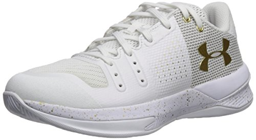 Under Armour Women's Block City Volleyball Shoe, White (100)/Metallic Gold, 7.5