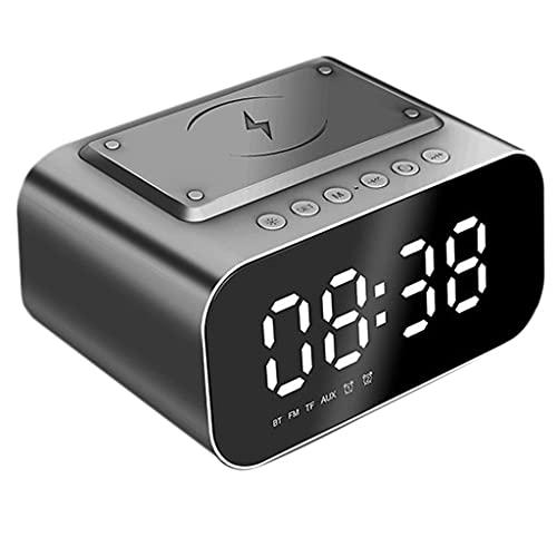 Yousiju Multifuncional Bluetooth 5.0 Altavoz Digital LED de escritorio Despertadores con carga inalámbrica FM Radio reproductor de música