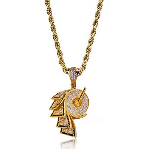 Hip-Hop-Papierform Anhänger Halskette, Kupfer eingelegten Zirkon Halskette Anhänger Zubehör (Gold, Silber), Anhänger Halskette-Gold