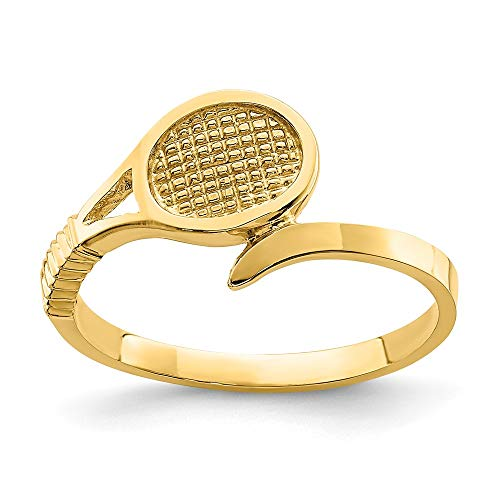 14k Yellow Gold Tennis Racket Band Ring Size 7.00 Sport Fine Jewelry For Women Gifts For Her