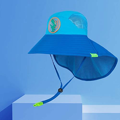 Sombrero de verano para niños, para niños, al aire libre, cuello de orejas, protección UV, gorra de playa, para niños y niñas, para viajes de 1 a 19 años (color: cocodrilo, tamaño: 4 años a 10 años)