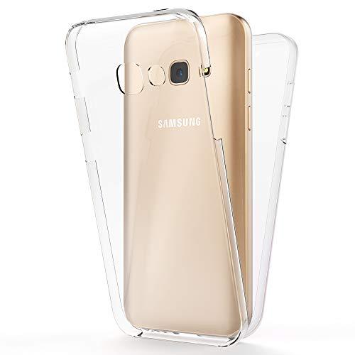 NALIA Funda Integral Compatible con Samsung Galaxy A5 2017, Carcasa Completa con Cristal Templado, Ultra-Fina Telefono Movil Cubierta Protectora Cover Delgado Bumper Phone Case, Color:Transparente