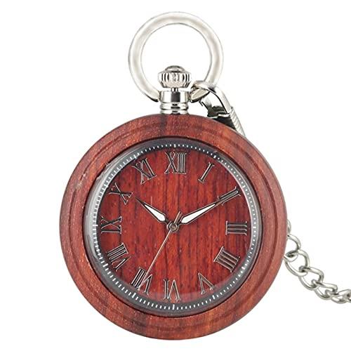 JTWMY Reloj de Bolsillo de Madera de ébano Retro Reloj de Bolsillo de Cuarzo Letra Romana Aguja Luminosa de Moda Reloj de Cadena de 30 cm Regalo-Madera roja