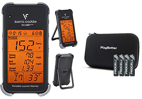 Swing Caddie SC200 Plus+ Portable Golf Launch Monitor by Voice Caddie Bundle with PlayBetter Protective Hard Case & Extra AAA Batteries (4-Pack)   Doppler Radar   Smash Factor, Barometric Pressure
