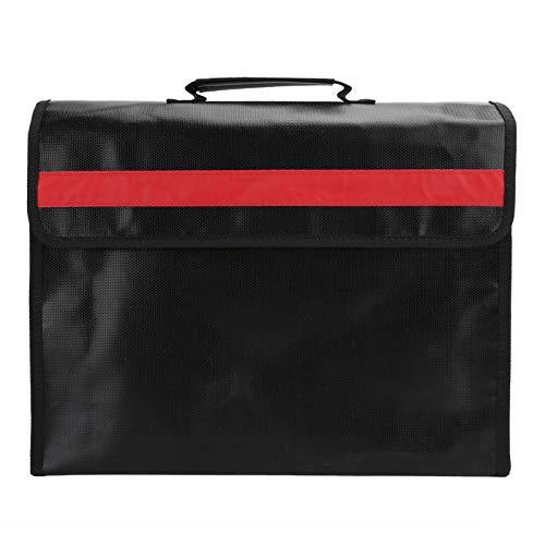 Bolsa de documentos impermeable a prueba de fuego, bolsas de almacenamiento con maletín con cremallera Bolsa de mano con correa para el hombro para documentos legales, pasaporte y efectivo