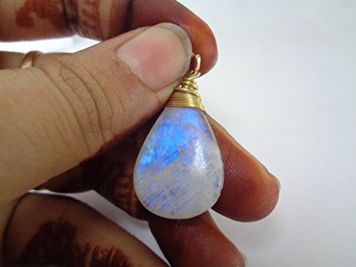 18X 27Mm piedra de luna arco iris colgante lágrima, chapado en oro colgante, regalo para usted