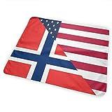 Cambiador de pañales, impermeable, portátil, con bandera estadounidense y noruega, para cambiar el colchón de pañales para niños y niñas recién nacidos (25,5 x 31,5 cm)