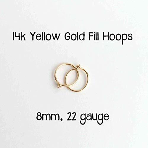 8mm 14K Yellow Gold Fill Hoops. Minimalist Tiny Hoop Earrings in 22 gauge. Handmade Sensitive Ears Loops