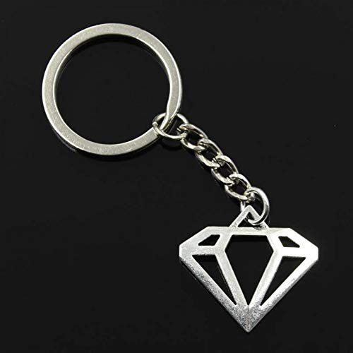 N/ A SGDONG Fashion Mannen 30Mm Sleutelhanger Diy Metalen Houder Ketting Diamant Vorm Logo 28X30Mm Zilver Kleur Hanger Gift