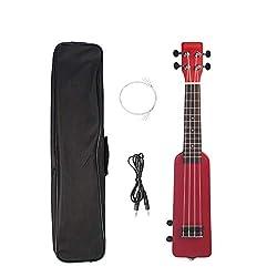 Ukulélé Soprano Pour Débutants Kit Ukulélé électrique En Bois Massif Okoumé 21 Pouces Instrument à Cordes (Size:One Size; Color:Red)