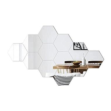 ATFUNSHOP Hexagon Mirror Wall Stickers 12 PCS 5inch - Removable Acrylic Mirror Wall Decor DIY Modern Decoration