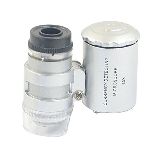 FDP Smallest 60X Microscope 2 LED Light Eye Lens Mini Magnifier Loupe with UV Light