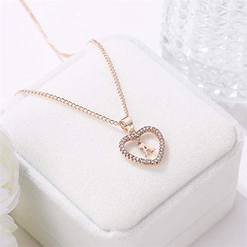 daidai Viento Simple Collar de Diamantes Letra Inglesa Amor melocotón corazón clavícula Cadena señoras Collar