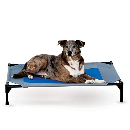 K&H Pet Products Coolin' Pet Cot Elevated Pet Bed Large Gray/Blue 30' x 42' x 7'