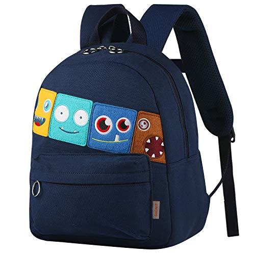 GAGAKU Mochila infantil de algodón, para niños de 3 a 6 años, para guardería, escolar, en color azul marino con dibujos de caricatura