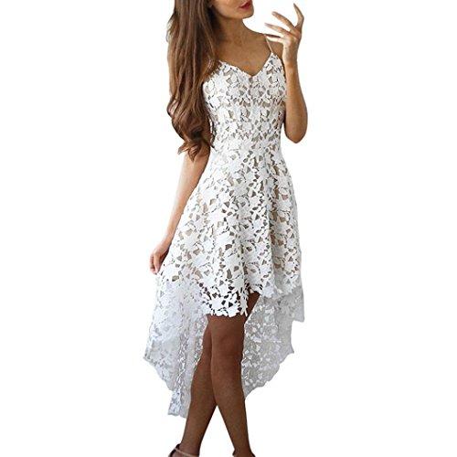 Xjp Frauen Cocktailkleid, Sexy Sleeveless V-Ausschnitt Spitze Kleider (34, Weiß)
