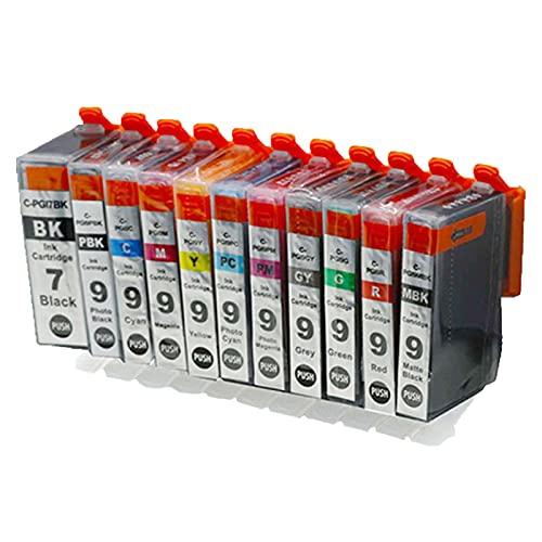 RICR Cartuchos De Tinta Remanufacturados para Reemplazo De para Canon PGI-7 PGI-9, Compatible para Canon Pixma MX7000 MX7600 PRO9500