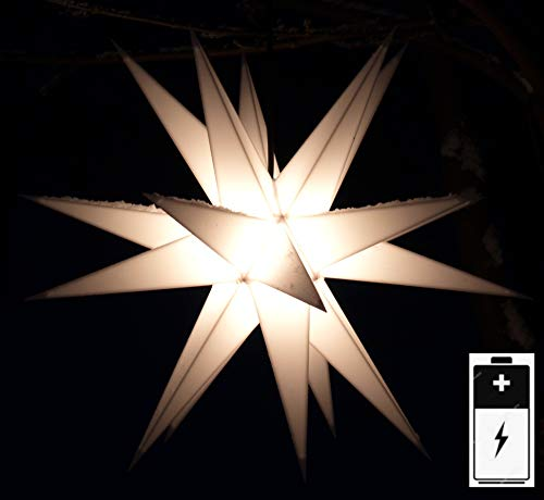 Guru-Shop LED Ministern Baltasar Für Innen, Außen - Weiß, Plastik, Variante: Komplettset Mit Batteriebox, 18x18x18 Cm, Weihnachtsstern, Adventsstern