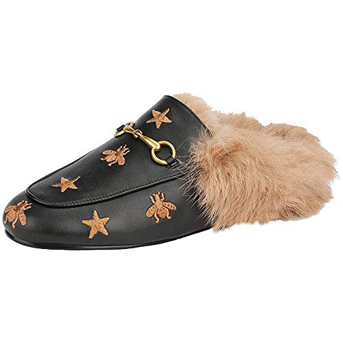 aznz Damen Flache Slingbacks Pantoletten mit Fell Leder Slipper Samt Mules Warm Loafers Schuhe (38 EU, Schwarz Stern)