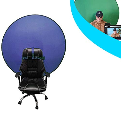 Photography Backdrop-Round Green Backdrop Screen Portable 4.65ft Photo Video Studio, Collapsible Reversible Background, Fix on Chair video photo, background removal (Green+ Blue)
