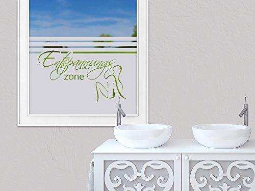 GRAZDesign Sichtschutzfolie Badezimmer, Milchglasfolie Bad, Klebefolie Fenster Entspannungszone, Fensterfolie Duschtür / 80x57cm