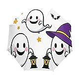AOTISO Feliz Halloween Fantasma con Linterna A Prueba de Lluvia Sol Protección UV Paraguas de Viaje ...