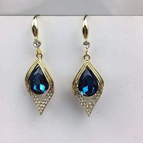 LIEQUAN Moda para Todos los Partidos y Elegantes Ganchos para la Oreja, Imagen de Gota, Temperamento, Pendientes de Diamantes, Pendientes de Zafiro Retro para Mujer(Azul)