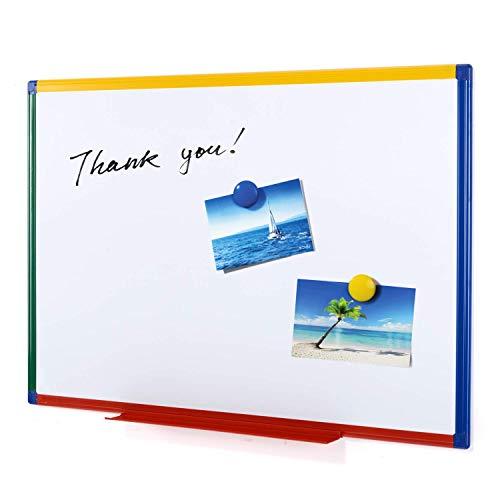 Swansea Magnettafel Kinder Whiteboard mit Bunte Rahmen für Wohnzimmer, Küche und Schule - Doppelseitig - 60x45cm