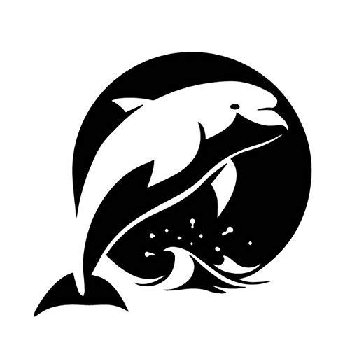 ZEEKYLY 16CM * 16.9CM Delphin gemustertes wasserdichtes Auto-seitliches Tür-Aufkleber-Abziehbild Schwarzes/Weiß-Schwarzes