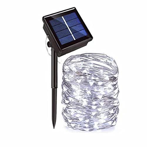 TAIZONG Luces solares para jardín, impermeables, 8 modos, para interior y exterior, alambre de cobre, iluminación para...