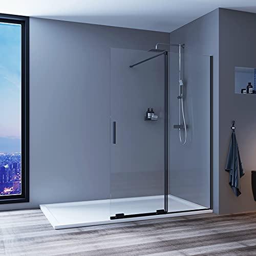 Meykoers Walk in Schiebetür-Duschwand 140x195 cm Duschabtrennung Duschtrennwand Walk-in Dusche aus 8mm ESG-Sicherheitsglas mit Nano-Beschichtung Klarglasglas ohne Duschtasse - Schwarzrahmen